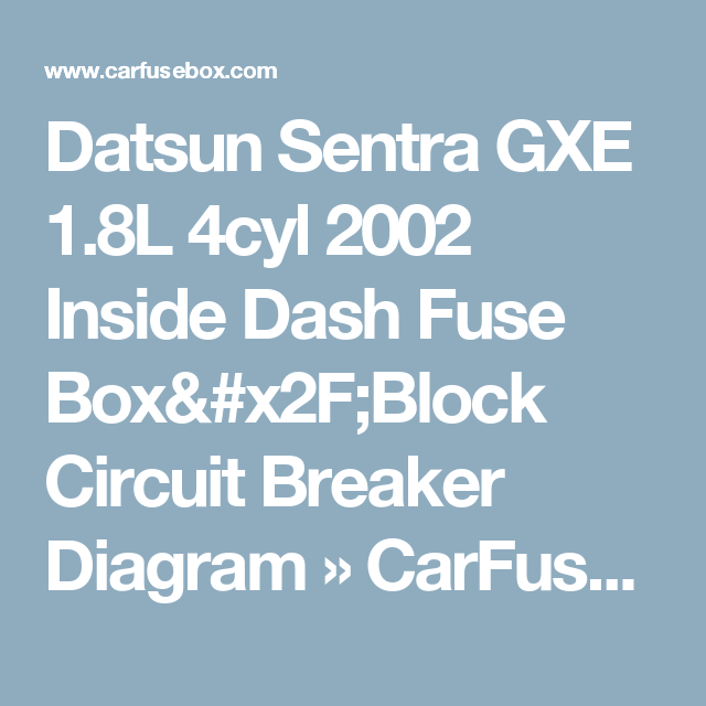 Datsun Sentra Gxe 1 8l 4cyl 2002 Inside Dash Fuse Box