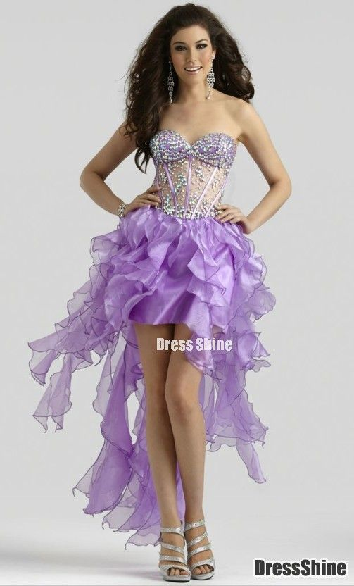 Empire Sweetheart Organza and Beading High Low Prom Dress - HomeComing Dresses - Homecoming | Cocktail | Party