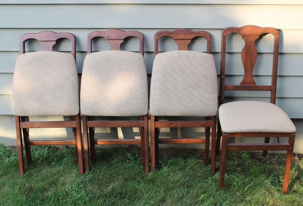 4 Stakmore Queen Anne Upholstered Wood Folding Chairs Queenannestyle Foldingchairs Furniture Dandeepop Find Me At