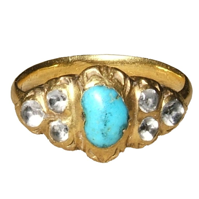 Renaissance Gemstone Ring  Italy?  16th-early 17th century;  gold, turquoise and rock crystals