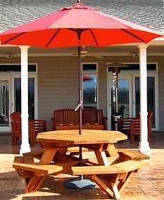 Image Result For Hexagon Picnic Table With Umbrella