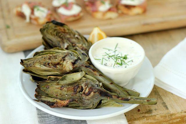 Jenny Steffens Hobick: Grilled Artichokes with Lemon Garlic Caper Aioli   Easy Summer Entertaining Recipes