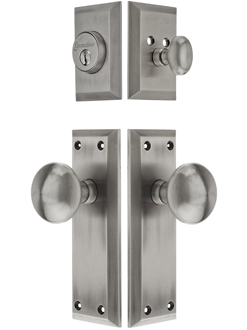Antique brass front door knobs  Grandeur Fifth Avenue Entry Set With Fifth Avenue Knobs  solid