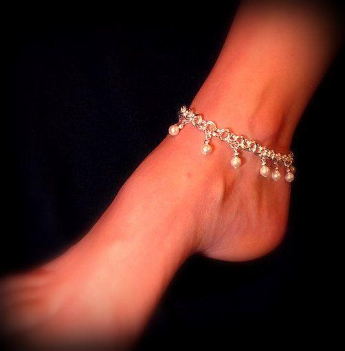 Anklet Dangling Swarovski Pearls you choose by byBrendaElaine