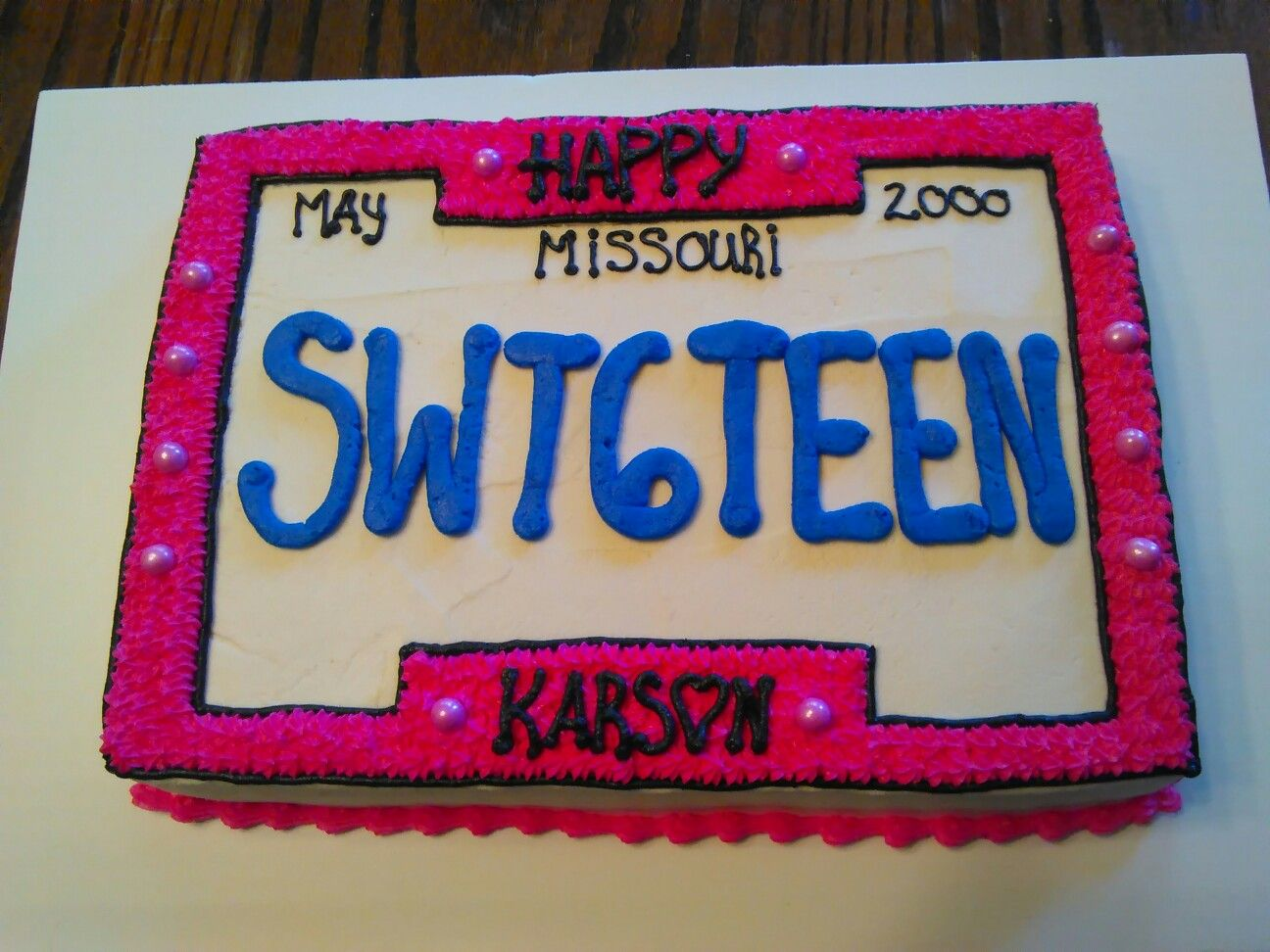 Sweet 16 License Plate Birthday Cake