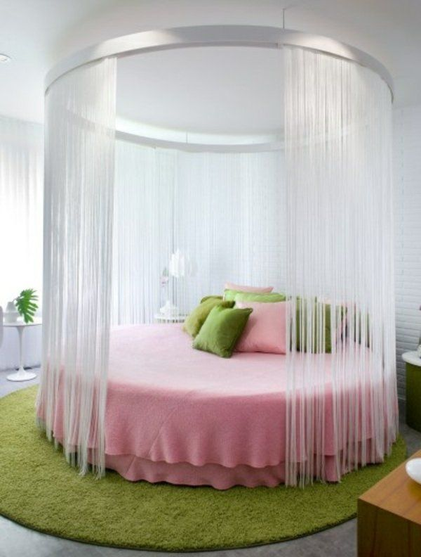 double bed teen room furniture ideas round canopy bed pink green ...