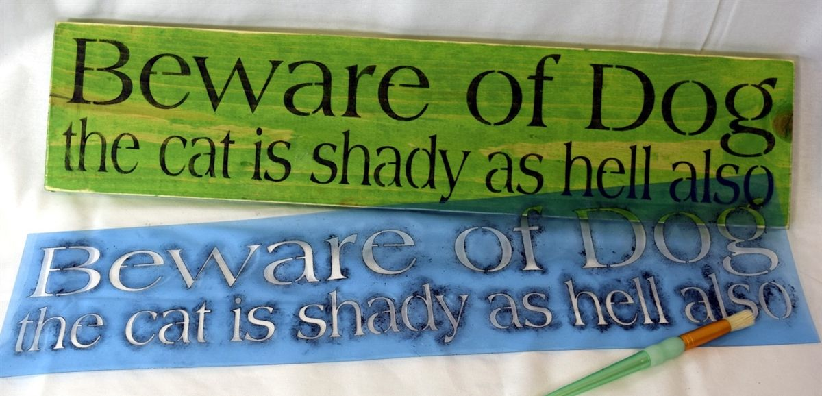 Beware of Dog the cat is shady as hell also 24 x 6\