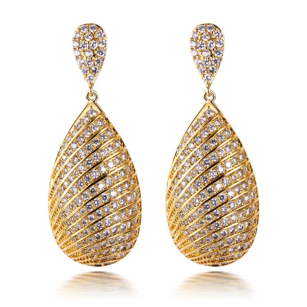 Band New Women Luxury Silver Pin Wedding Earrings AAA Cubic Zirconia Allergy Free Lead