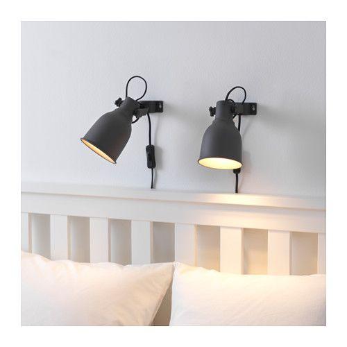 HEKTAR Wall clamp spotlight with LED bulb dark gray