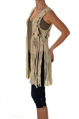 macrame hippie fringe vest