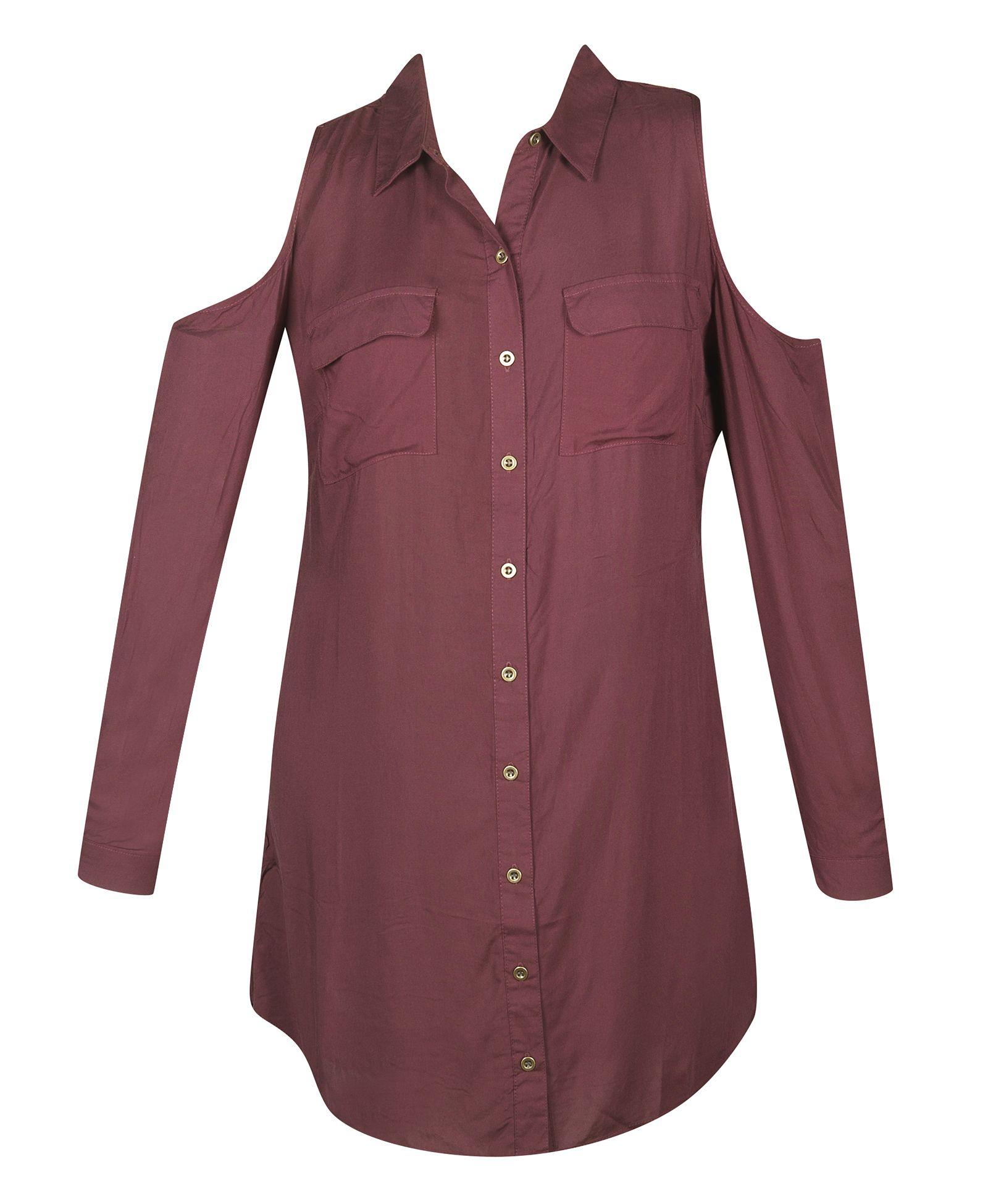 Wine cold shoulder shirt dress cold shoulder shirt dress has