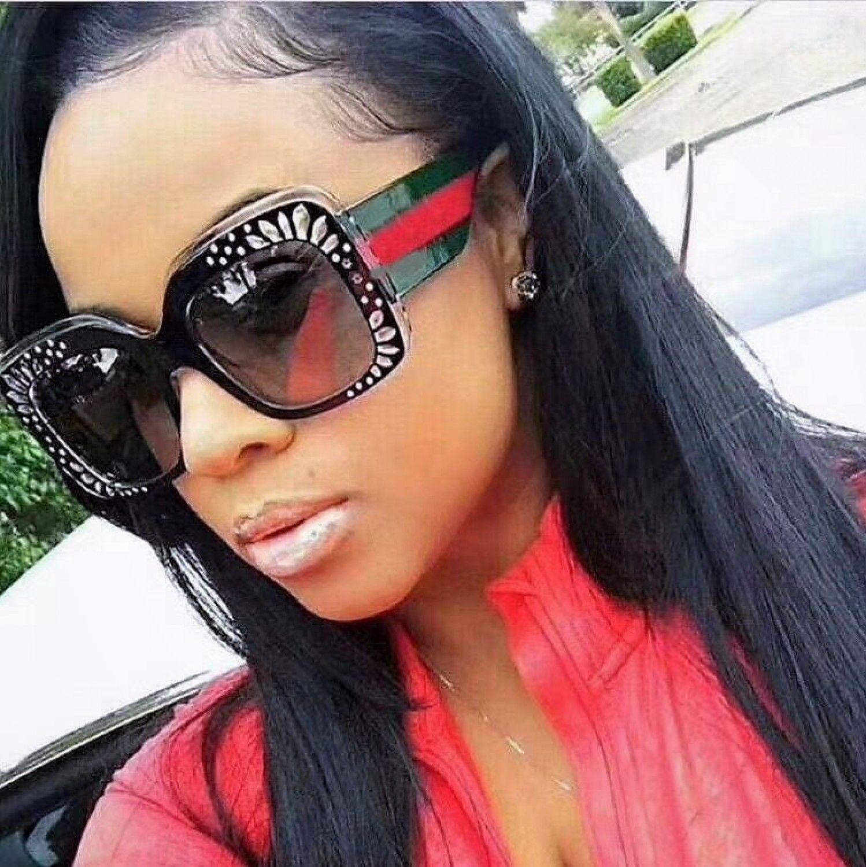 1c537a0fe976 2018 Luxury Unique Glitter Sunglasses Women Vintage Square Retro UV400 Sexy  New
