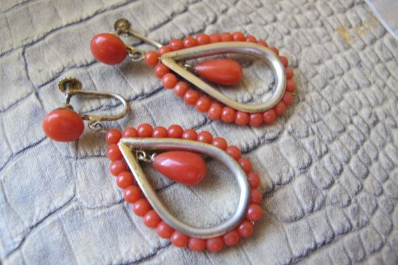 Italian Mediterranean Salmon Coral Bead Pendant Drop Dangle Earrings. Vintage Age Fine Jewelry. Silver w Gold Vermeil Gilt Wash Screw Backs
