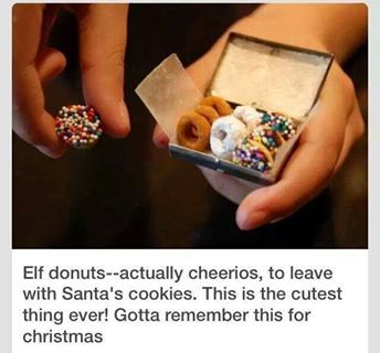Elf donuts! (elf-on-the-shelf)-which are actually cheerios cereal! What a cute idea!