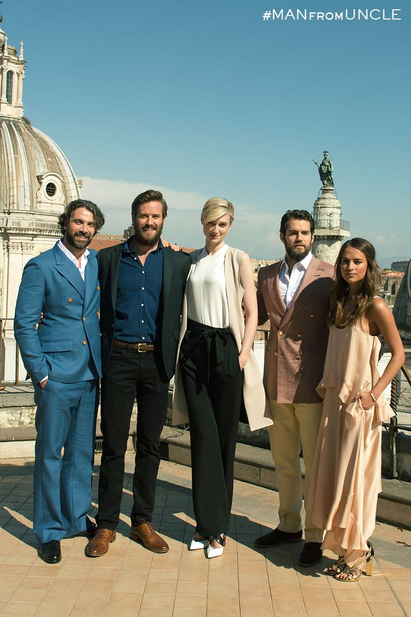 Luca Calvani Armie Hammer Elizabeth Debicki Henry Cavill And Alicia Vikander Take The Stage In Rome The Man From U N The Man From Uncle Movie Stars Man