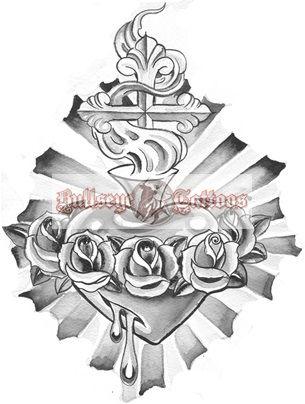 bleeding sacred heart with roses tattoo design at tattoos pinterest. Black Bedroom Furniture Sets. Home Design Ideas