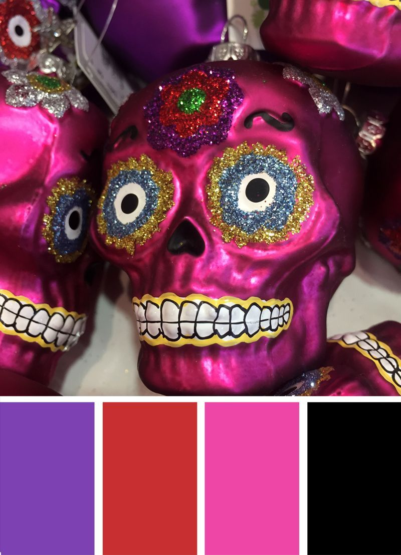 Day Of The Dead Dia De Los Muertos Color Palette Inspiration For Fall Try This Purple Pink Halloween Color Palette Black Color Palette Red Colour Palette