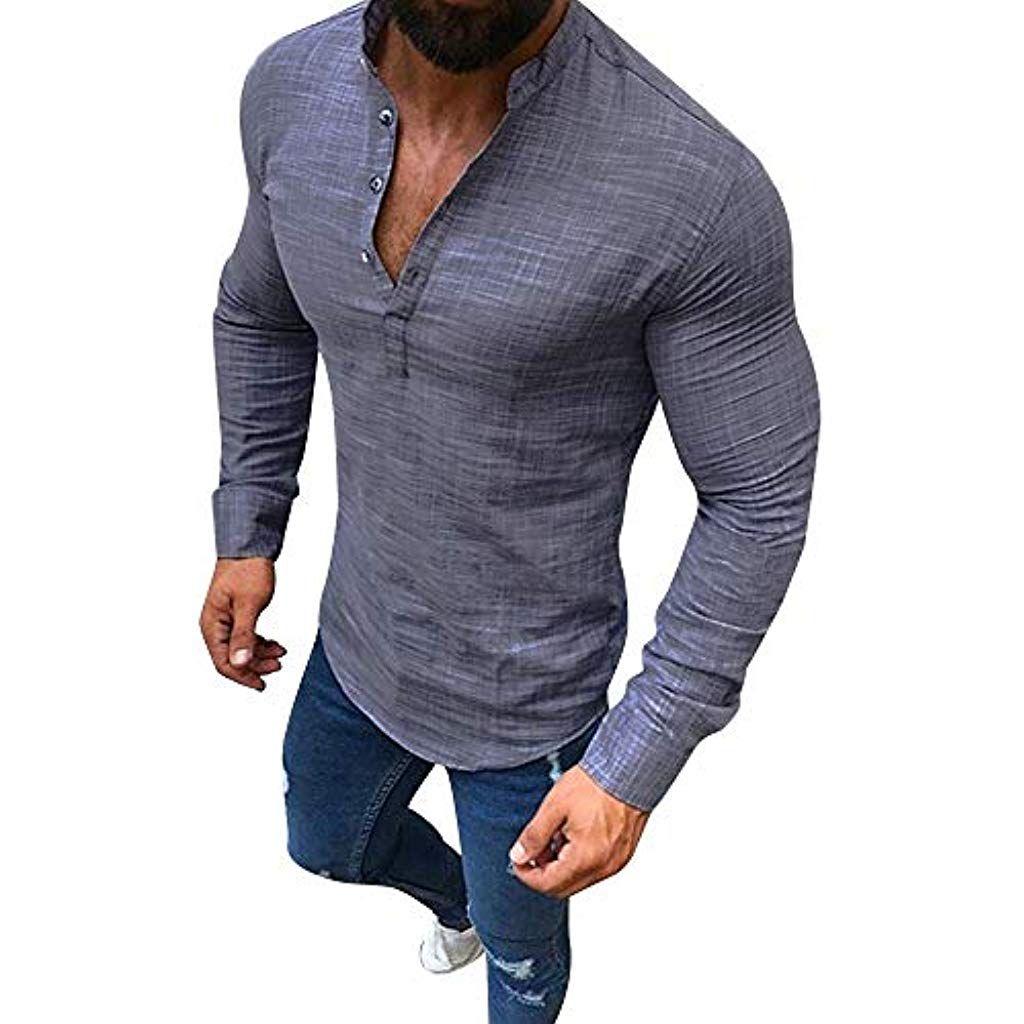 Uomo T-Shirt LEIF NELSON Tinta Unita Manica Lunga