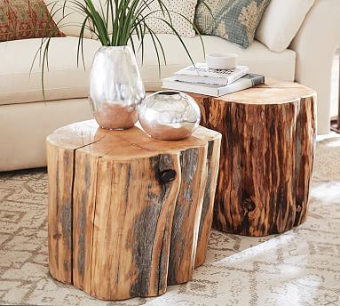 Charmant Reclaimed Wood Stump Table #potterybarn