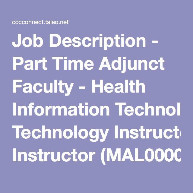 Job Description - Part Time Adjunct Faculty - Health Information ...