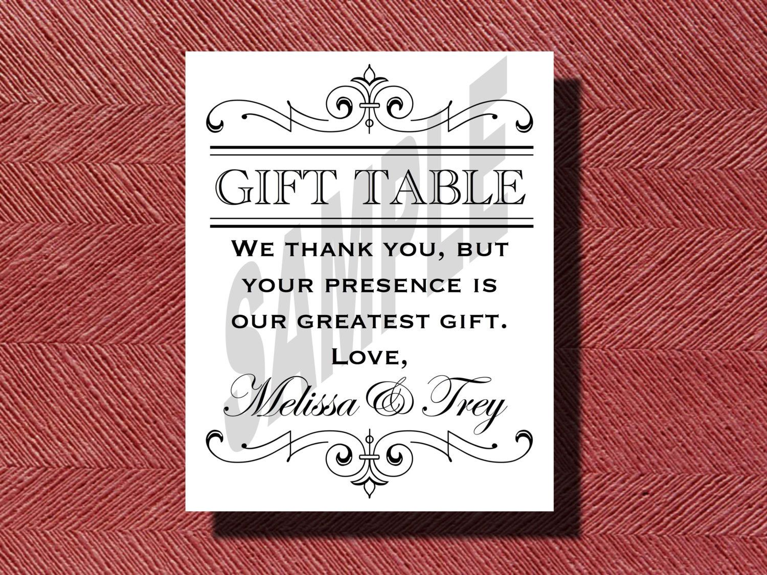 printable wedding reception gift table sign