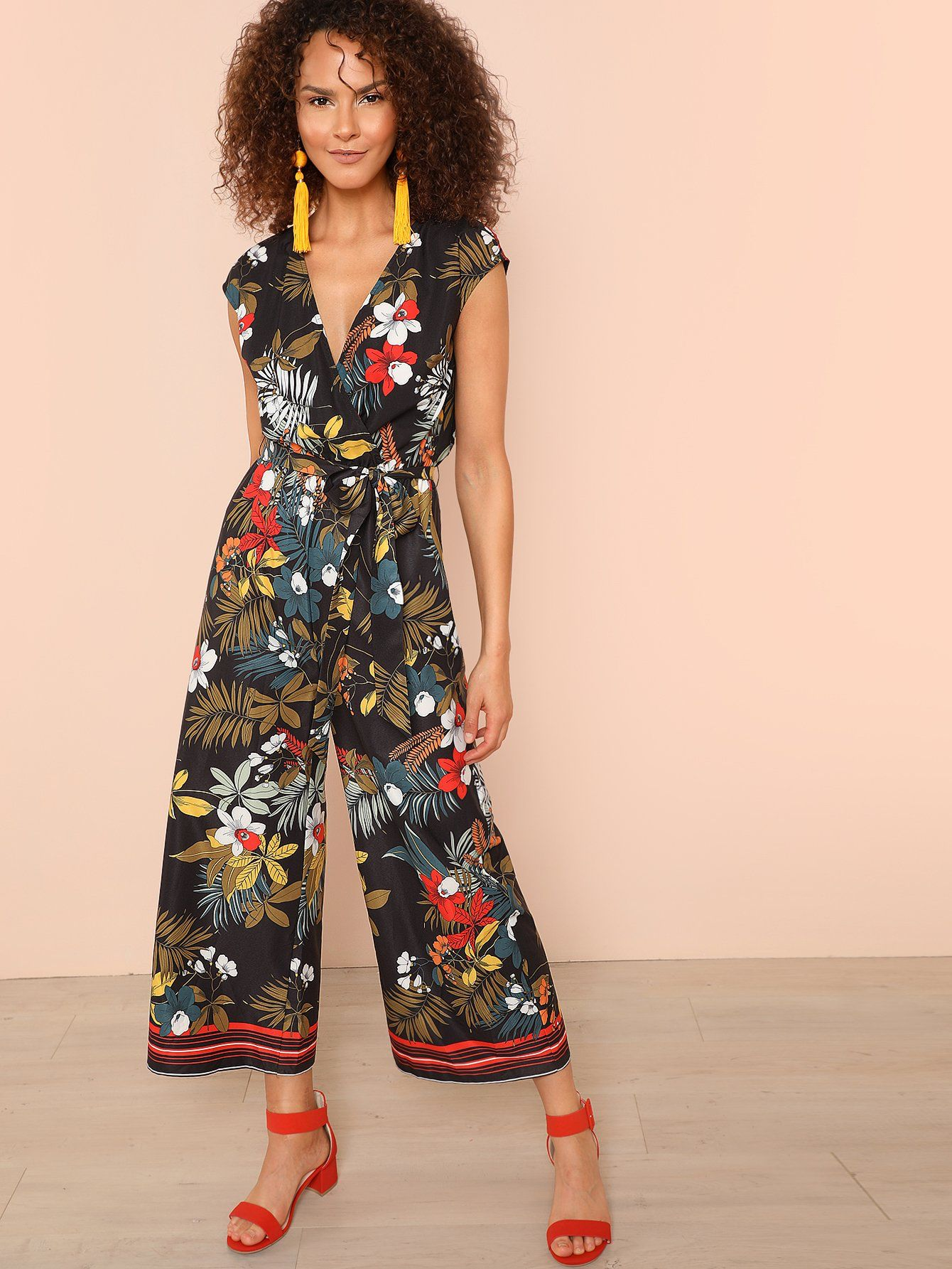 0308362d7f87 Tropical Print Stripe Tape Hem Straight Leg Jumpsuit Check out this  Tropical Print Stripe Tape Hem Straight Leg Jumpsuit on SHEIN and explore  more to meet ...