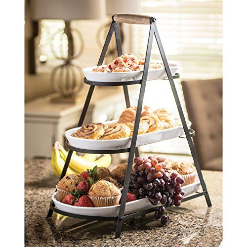 rustic serveware collapsible 3tier serving trays stone https
