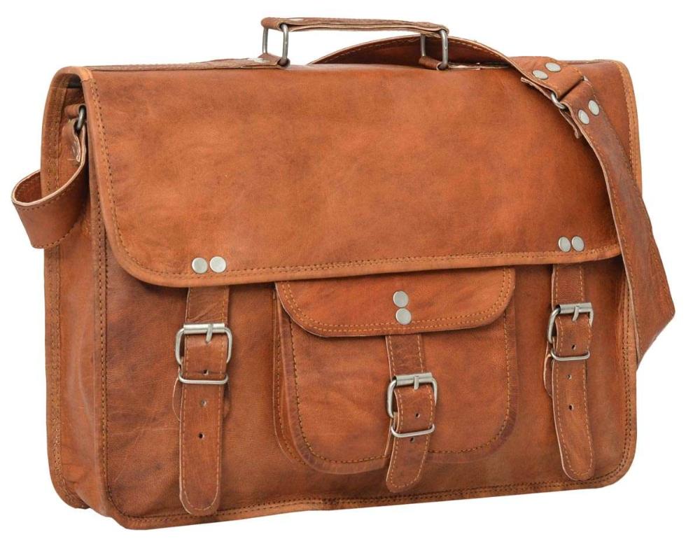 Finlay 15″ Sac porte-documents Sac à bandoulière Sac porté épaule Sac college Vintage Unisexe Cuir marron
