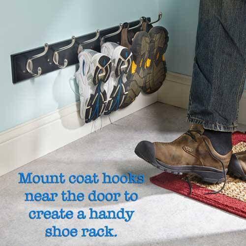 Shoe Rack Coat Hanger.Use A Regular Coat Hanger Mounted Near The Base Board Hold