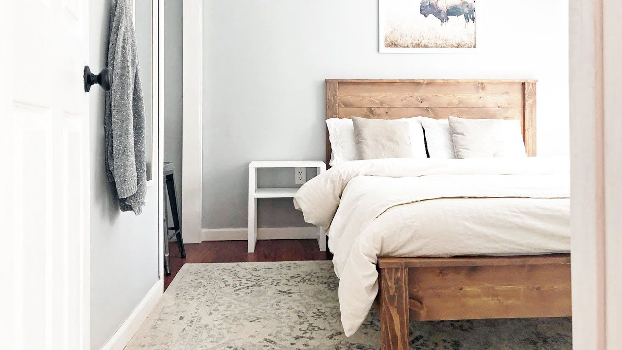 Inexpensive Airbnb Room Makeover Youtube Simple Wood Bed Frame Bed Frame Plans Wood Bed Frame