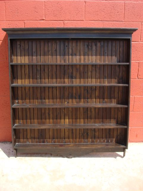 Pine Plate Rack Antique Wall Shelf