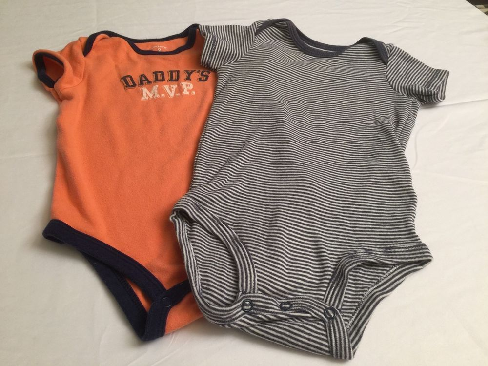 66aab88d8 Lot Of 2 Baby Boy Infant 9 Months Carters One Pieces Jumpsuits Blue ...