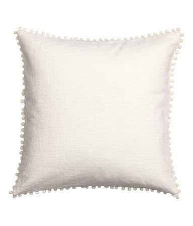 Cushion Cover In Woven Cotton Fabric With Pompom Trim At Edges Concealed Zip Kissenhullen Kissen H M Mode