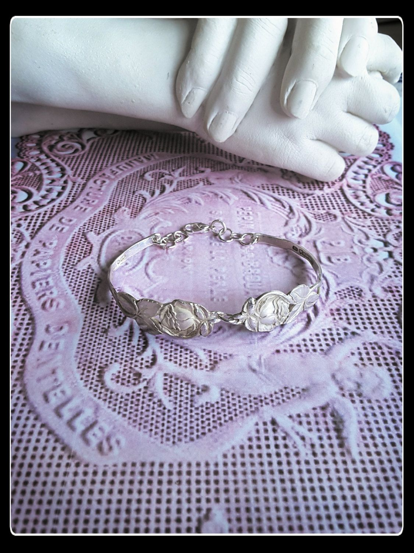 Handmade OOAK  solid silver roses spoon  bracelet by AnnasHaberdashery on Etsy