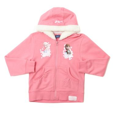 Fur-trimmed Frozen hoodie with zipped front, featuring images of Disney characters Anna and Elsa.