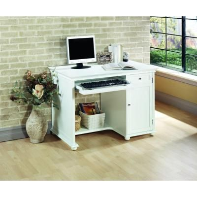 Home Decorators Collection Hampton Bay Computer Desk In White 3650600410 The Home Depot White Computer Desk Home Office Computer Desk Home Office Furniture