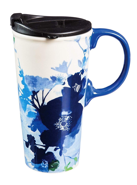 Cypress Home Ceramic Bella Blue Travel Coffee Mug, 17