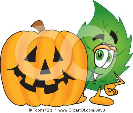 Google Image Result for http://images.clipartof.com/small/6930-Clipart-Picture-Of-A-Leaf-Mascot-Cartoon-Character-With-A-Halloween-Pumpkin.jpg