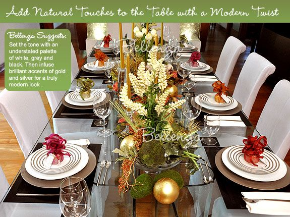 Modern meets organic for a chic christmas wedding table - Modern christmas table settings ideas ...