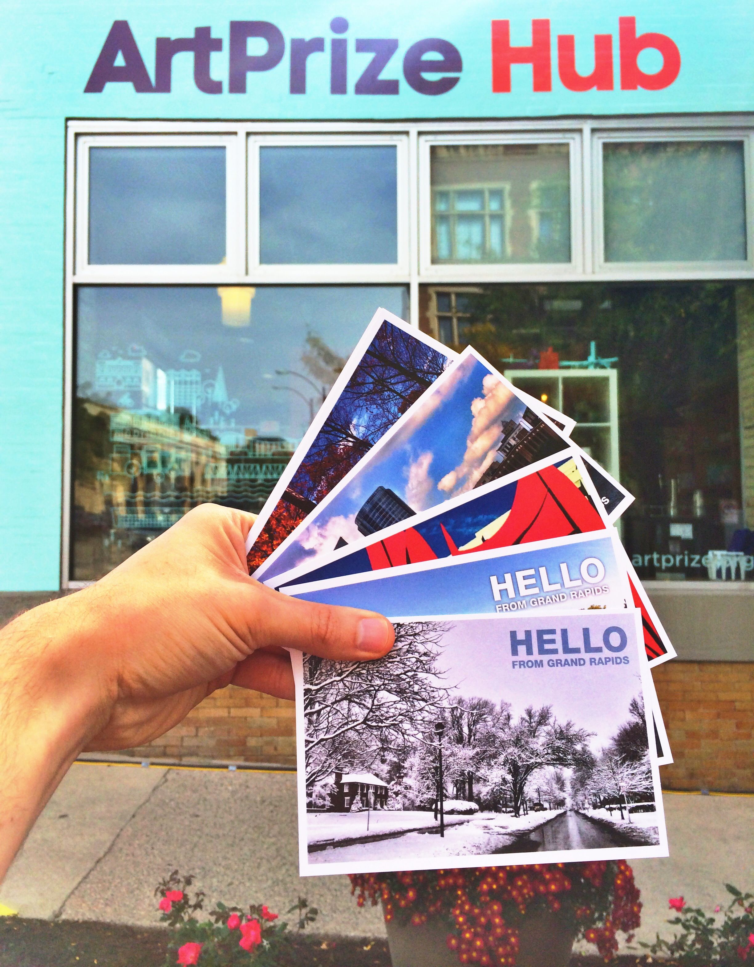 We just re-stocked the ArtPrize​ HUB gift shop with more Hello From Grand Rapids postcards!