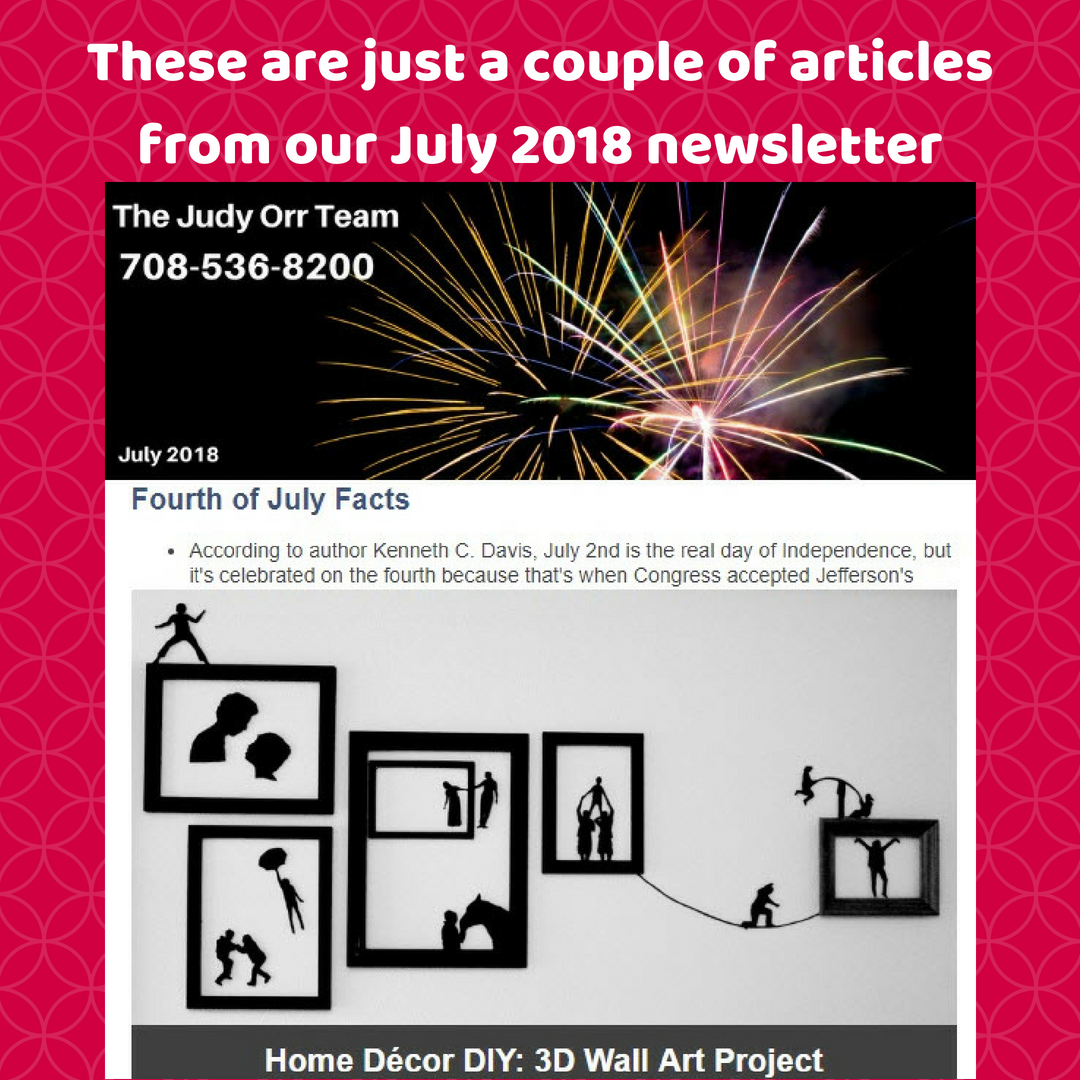 Our July Newsletter Offers Decorating Tips An Article On Fake Real Estate A Free Downloand On What Buyer S Wish Th 3d Wall Art Fourth Of July Art Projects