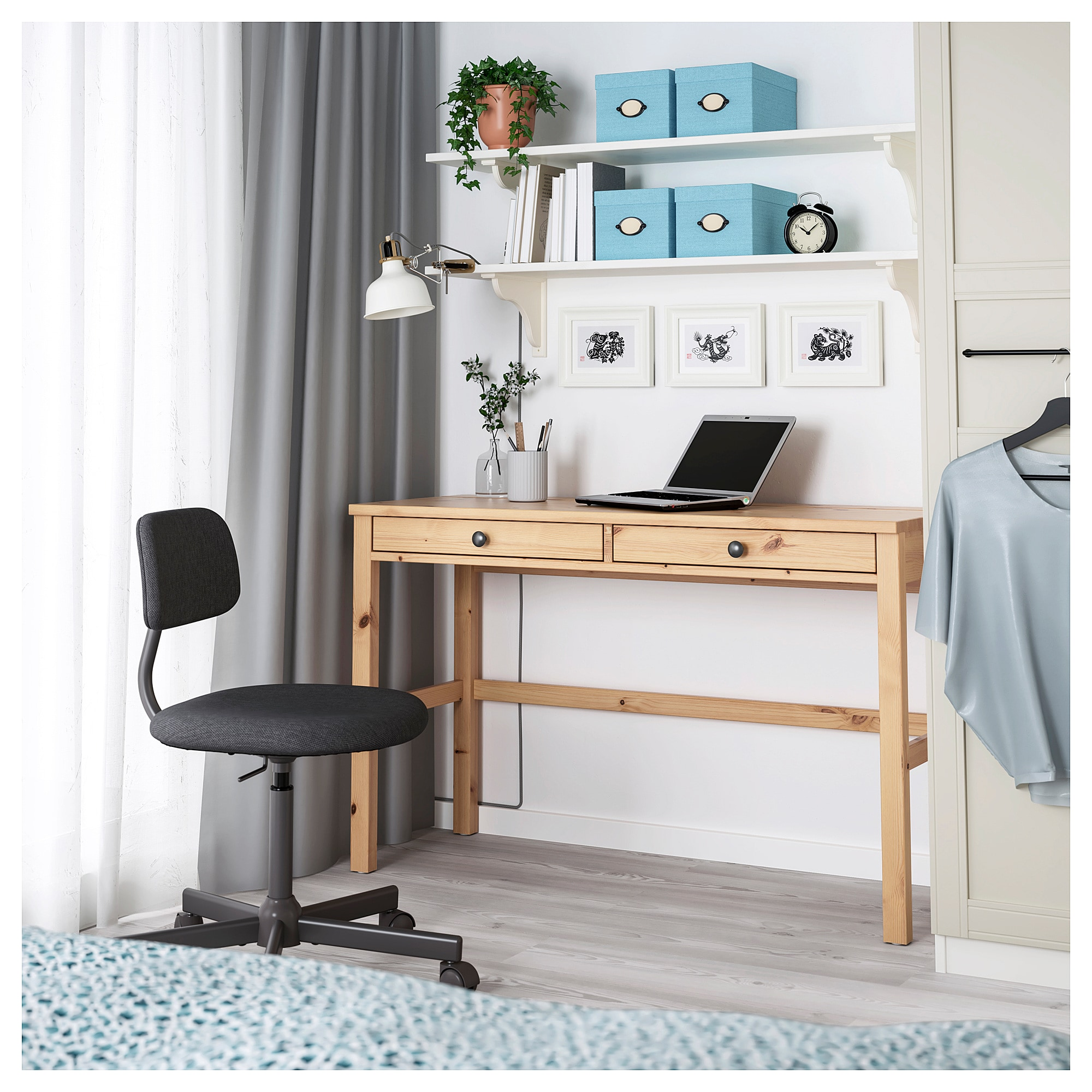 Ikea Hemnes Light Brown Desk With 2 Drawers Ikea Hemnes Desk Hemnes Ikea Hemnes
