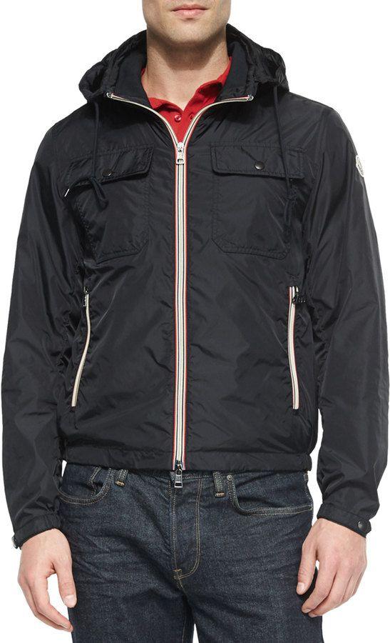 Moncler Lyon Hooded Wind-Resistant Jacket, Black