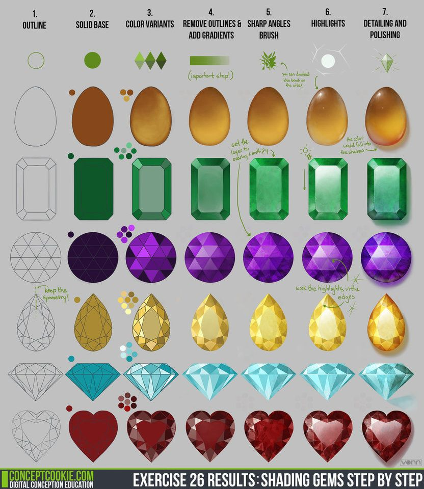 Exercise 26 Results: Shading Gems Step by Step by ConceptCookie on