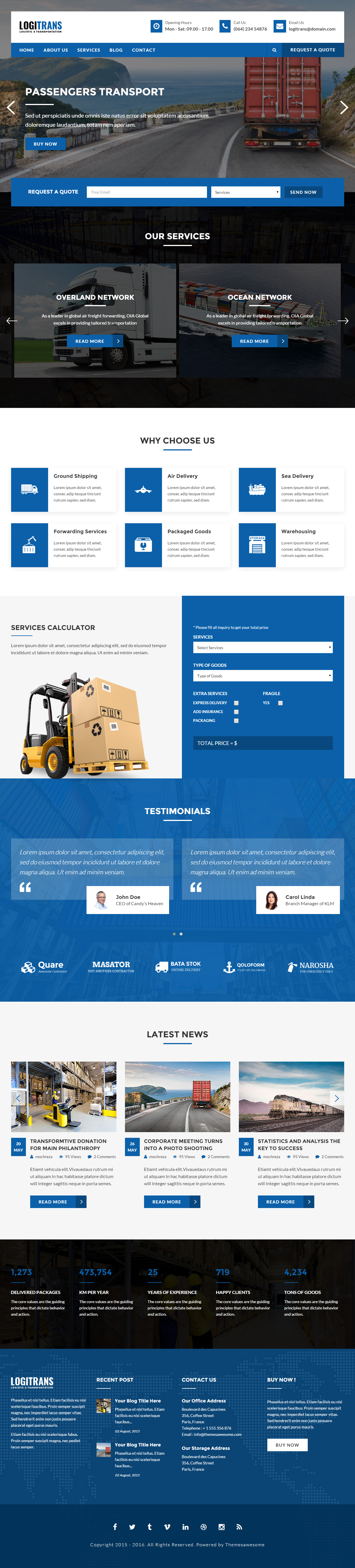 Parallax Website Template Logitrans Is Premium Full Responsive Logistic Html5 Template