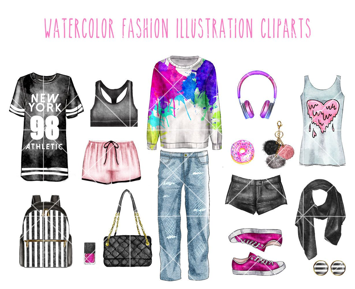 INSTANT DOWNLOAD - Watercolor fashion clip art set - Casual Outfit ...