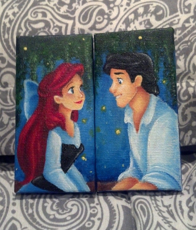 The Little Canvas: Ariel/Eric Mini Canvas Set By Jaysart On Etsy, $30.00 I