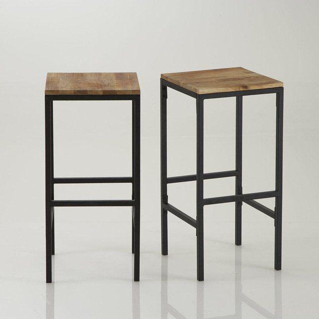 tabouret de bar haut forme carr e hiba lot de 2 comptoirs de cuisine tabouret haut et. Black Bedroom Furniture Sets. Home Design Ideas