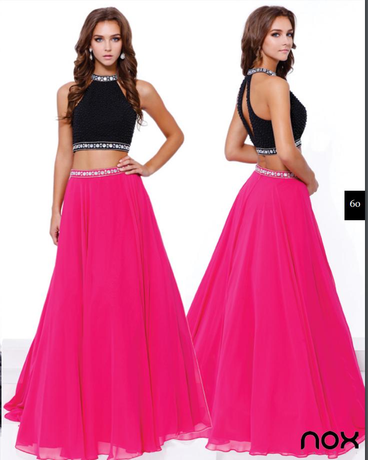 prom dress two piece 2 piece pink fuchsia black lace tulle chiffon ...
