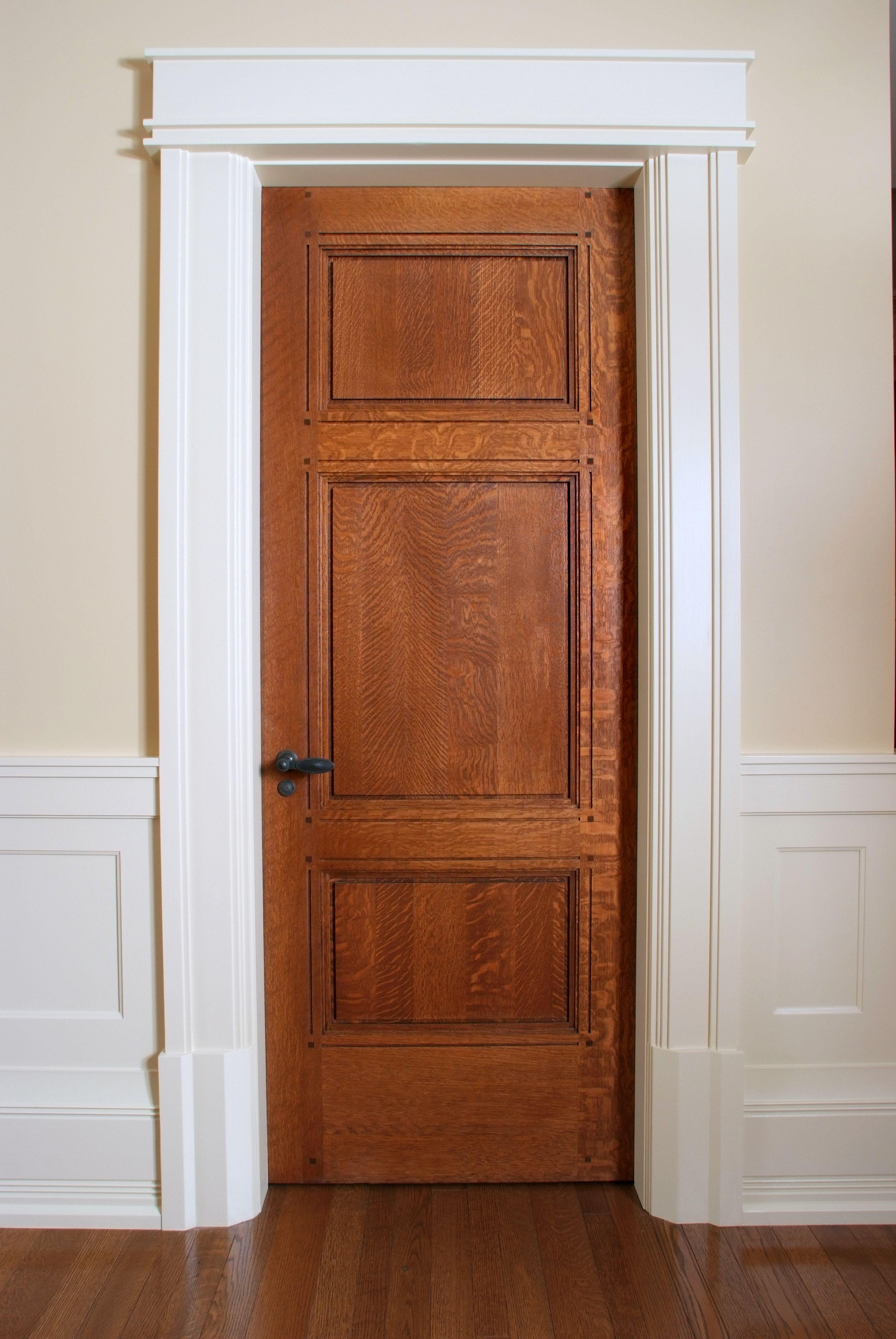 Custom 3 panel Quarter Sawn White Oak interior door with ...